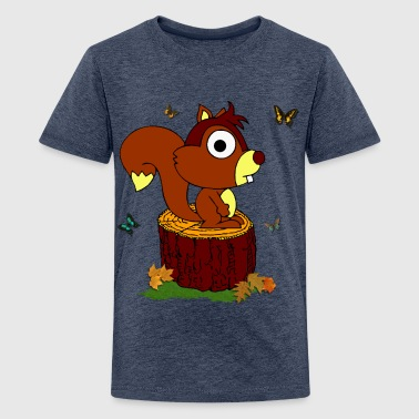 Sweet squirrel on a trunk - Teenage Premium T-Shirt
