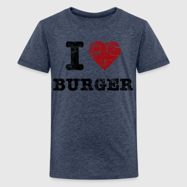 i love burger vintage dark - T-shirt Premium Ado