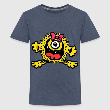 Cute Cartoon Girlie Monster by Cheerful Madness!! - Teenage Premium T-Shirt