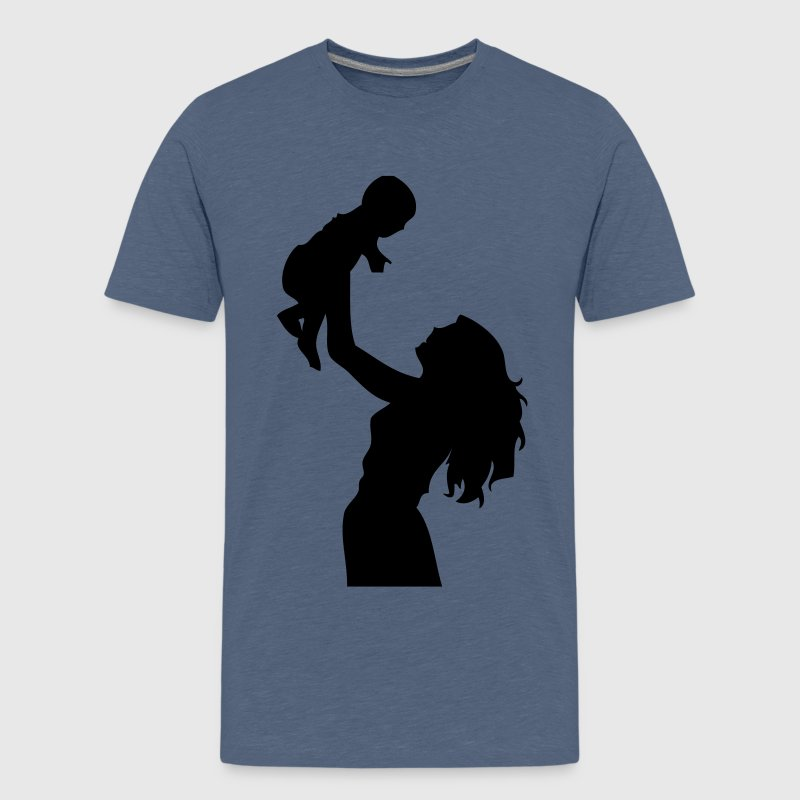 mum, mummy, mom, mommy, mother, baby, child, birth, more pregnant, daughter, a lifting, woman, womanlike, male, shade carries for son, outlined  - Teenage Premium T-Shirt