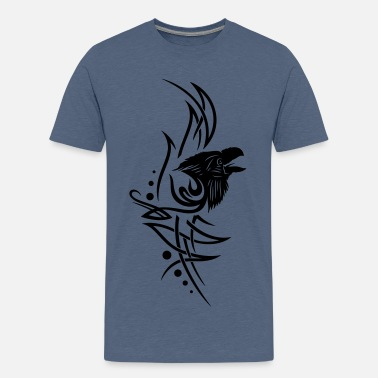 Bird Tribal Tattoo Tribal, tattoo with raven head - Teenage Premium T-Shirt