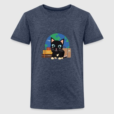 World Travel cat with suitcases - Teenage Premium T-Shirt