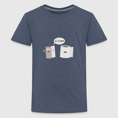 Toilet roll tissue cartoon - Teenage Premium T-Shirt