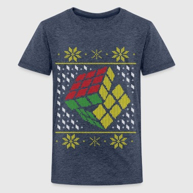 Rubik's Cube Ugly Christmas - Teenager Premium T-Shirt