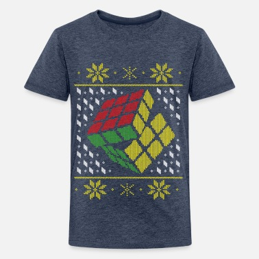 Rubik's Cube Ugly Christmas - Teenage Premium T-Shirt