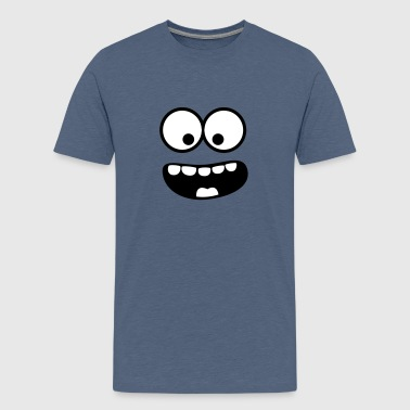 Funny Smiley Monster (Om Nom Nom) Face - T-shirt Premium Ado