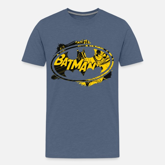 Officialbrands T-shirts - Batman Geel Logo T-Shirt voor kinderen - Teenager premium T-shirt blauw gemêleerd