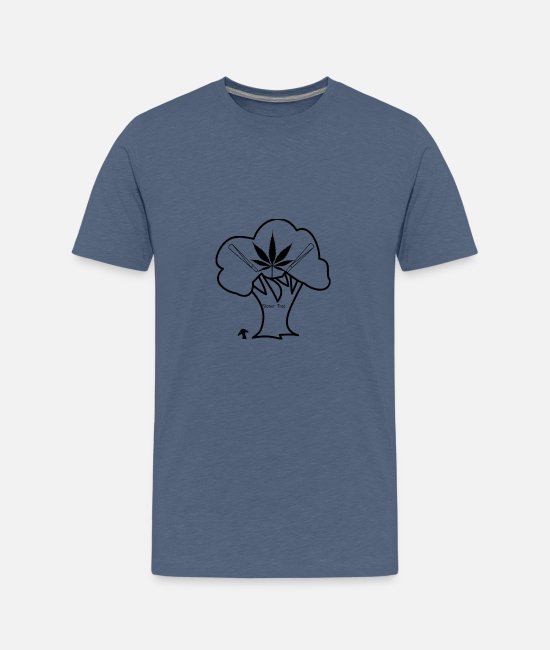 Rastafari T-Shirts - Stoner Tree - Teenage Premium T-Shirt heather blue