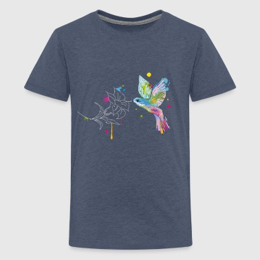 A hummingbird and a flower - Teenage Premium T-Shirt