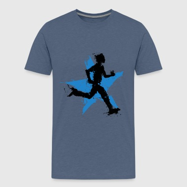 runner male with star - Teenage Premium T-Shirt