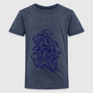 lion tribal tatouage dessin par 4 - T-shirt Premium Ado