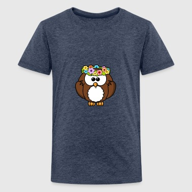 Hippie owl with flower wreath - Teenage Premium T-Shirt