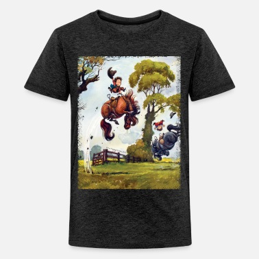 Officialbrands PonyRodeo Thelwell Cartoon  - Teinien premium t-paita
