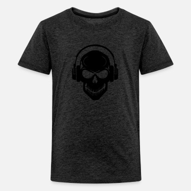Gabber Clothing Skull with Headphones - Rave - Electro - Hardstyle - Teenage Premium T-Shirt