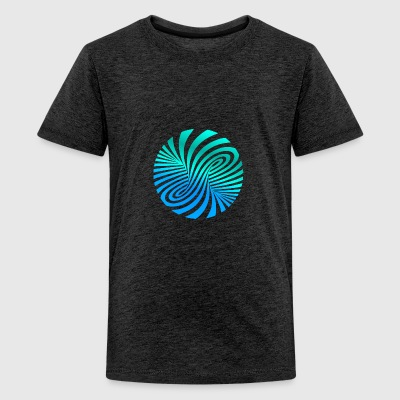 Psychedelic optic illusion turquoise optical art 60er - Teenage Premium T-Shirt