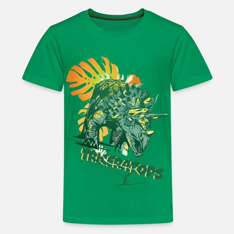 Animal Planet T-Shirts - Animal Planet Triceratops - Teenage Premium T-Shirt kelly green
