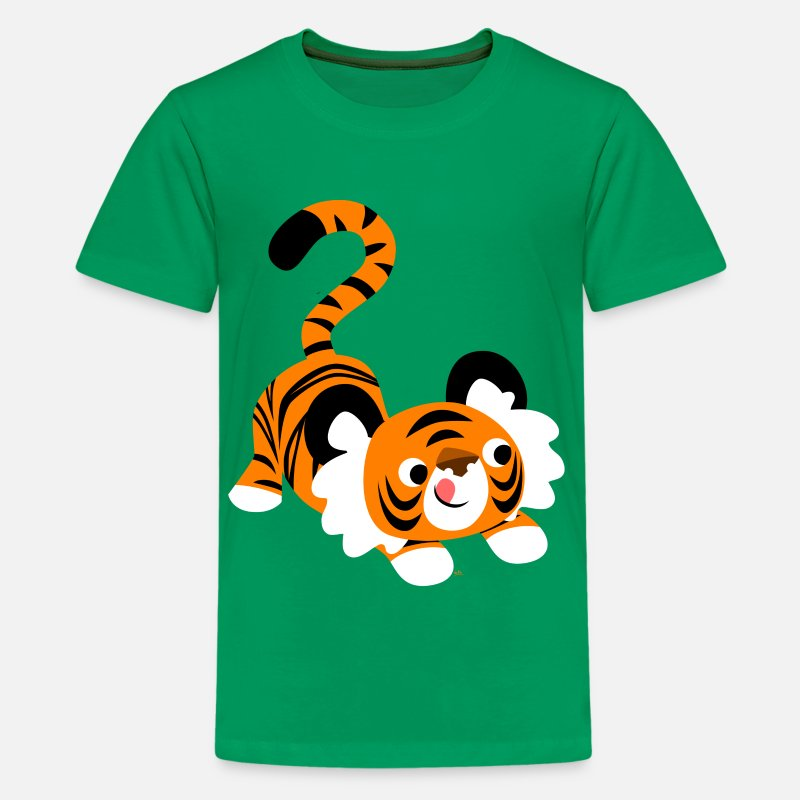 Pounce T-Shirts - Cute Cartoon Tiger Ready To Pounce!! by Cheerful Madness!! - Teenage Premium T-Shirt kelly green
