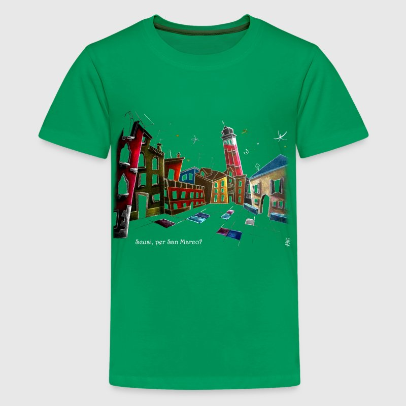 Art T-shirt Design Venice Italy - Children Fantasy Illustration - Teenage Premium T-Shirt