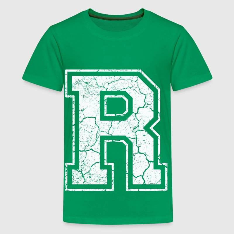 Letter R in white in the used look - Teenage Premium T-Shirt