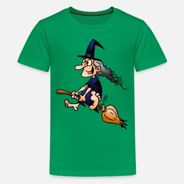 Broom Witch on a broom - Teenage Premium T-Shirt