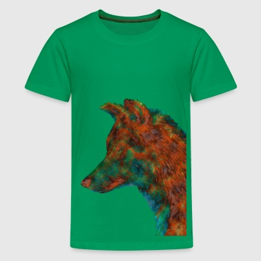 Wolf in Orangetönen - Teenager Premium T-Shirt