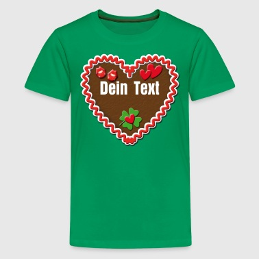 Lebkuchenherz kuess mich + Dein Text / Gingerbread heart hearts - Teenager Premium T-Shirt