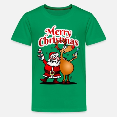 Christmas Merry Christmas - Santa Claus and his reindeer - Teenage Premium T-Shirt