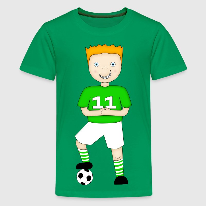 Cartoon Football Player in a Green and White Strip - T-shirt Premium Ado