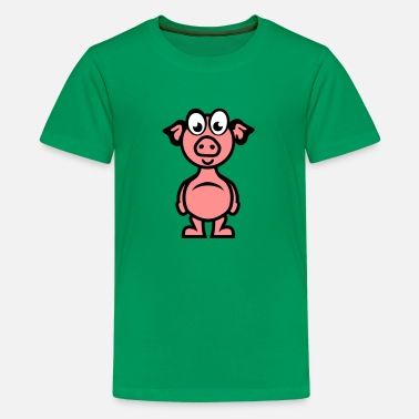 Cartoon-schwein schwein cartoon charakter lustiger 1110 - Teenager Premium T-Shirt