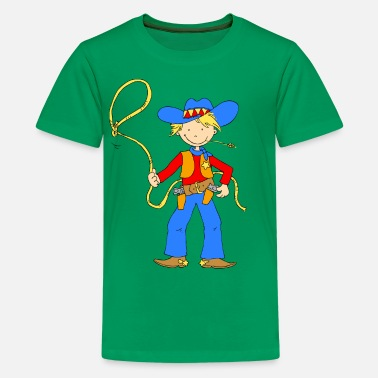 Lasso Cowboy with Lasso - Teenage Premium T-Shirt