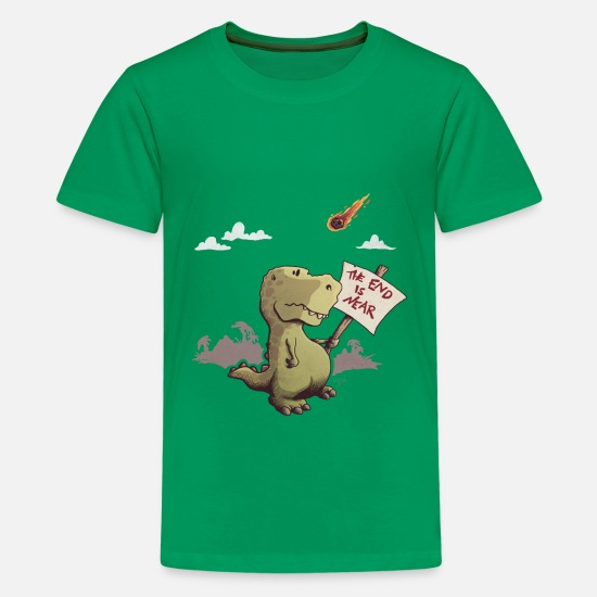 Dino T-Shirts - The end is near - Teenager Premium T-Shirt Kelly Green