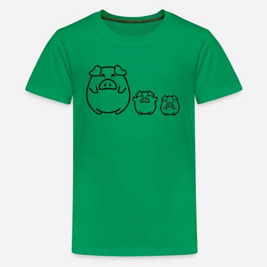 Barbecuën T-shirts - cute pigs - Teenager premium T-shirt kelly groen