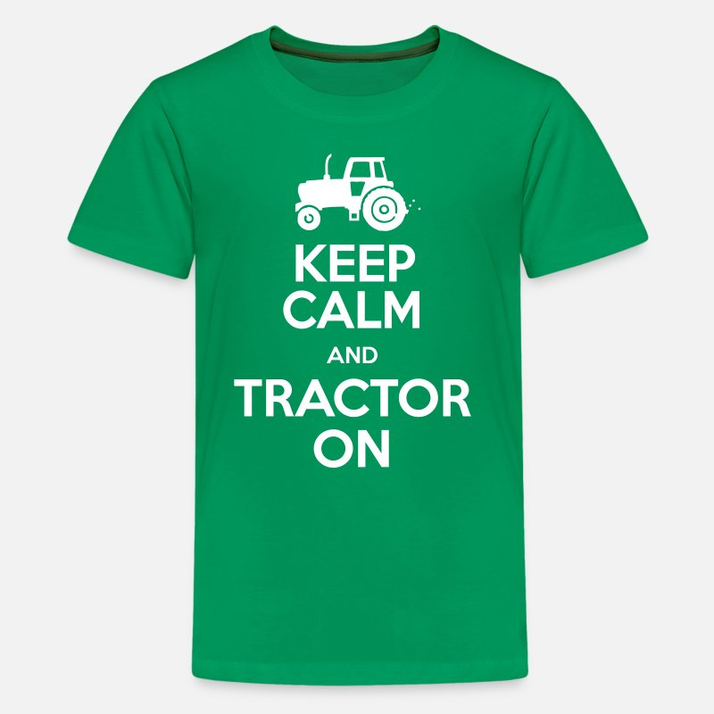 Tractor T-Shirts - Keep Calm & Tractor On - Farming theme - Teenage Premium T-Shirt kelly green