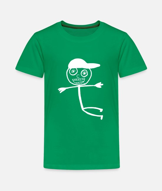 Doodle T-Shirts - Kid In A Cap - White - Teenage Premium T-Shirt kelly green