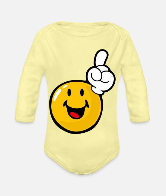 Emoticon Baby Bodysuits - Smiley Eager - Organic Long-Sleeved Baby Bodysuit washed yellow
