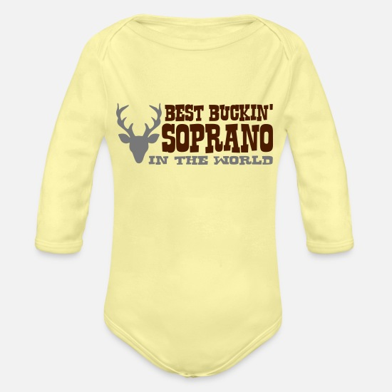 Soprano Baby Clothes - best buckin soprano in the world - Organic Long-Sleeved Baby Bodysuit washed yellow
