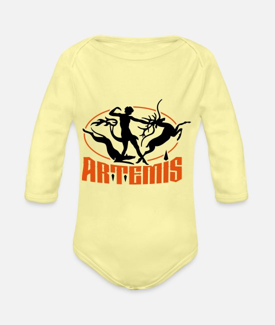 Stag Baby Clothes - artemis_goddess_of_the_hunt - Organic Long-Sleeved Baby Bodysuit washed yellow