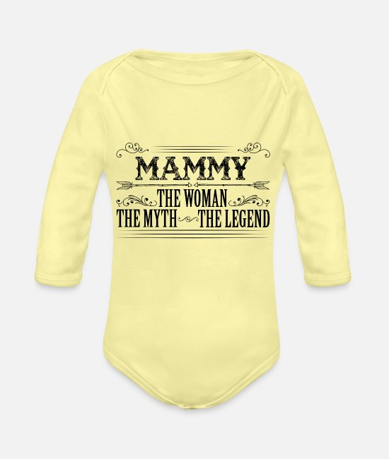 Coolest Mammy Ever Baby Bodysuits - Mammy The Legend... - Organic Long-Sleeved Baby Bodysuit washed yellow