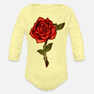 Red Rose Red Rose - Organic Long-Sleeved Baby Bodysuit