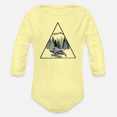 Forest Dweller forest 23 with wild boar - Organic Long-Sleeved Baby Bodysuit