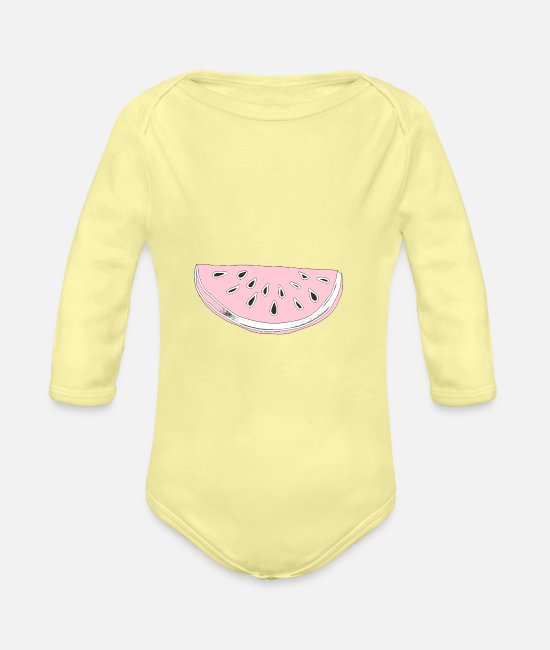 Fruit Baby Bodysuits - Melon, fruit, summer, design, gift, cool, chic, - Organic Long-Sleeved Baby Bodysuit washed yellow