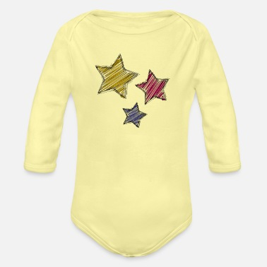 Renner Multicolored star trio - Organic Long-Sleeved Baby Bodysuit