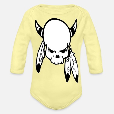 Punk Skull with feathers - Organic Long-Sleeved Baby Bodysuit