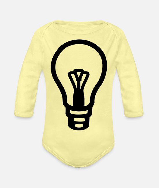 Pear Baby Bodysuits - light bulb idea - Organic Long-Sleeved Baby Bodysuit washed yellow
