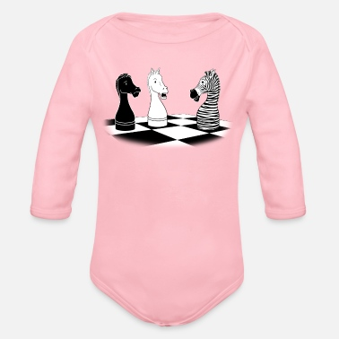 Checkmate Zebra Knight - Organic Long-Sleeved Baby Bodysuit