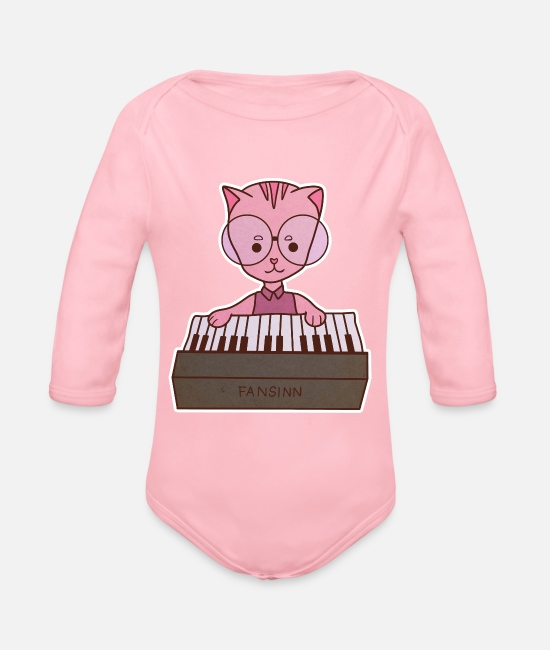 Kitty Cat Baby Clothes - Cat Keyboard Music Instrument Kids Gift - Organic Long-Sleeved Baby Bodysuit light pink