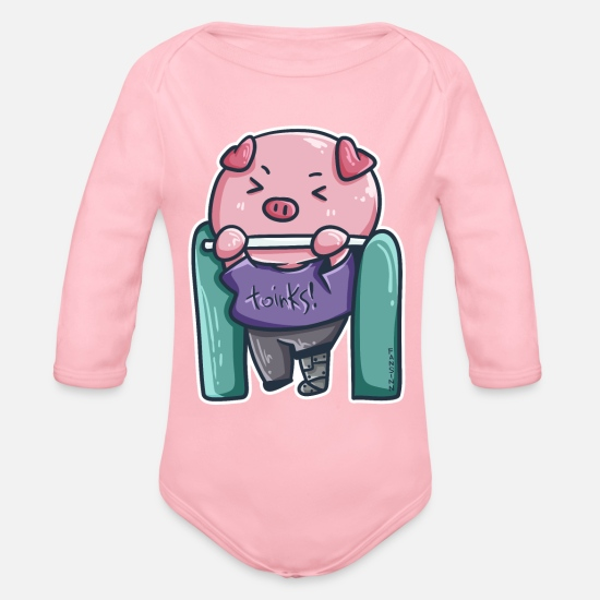 Hog Baby Clothes - Pig Gym Workout Disability Denture Gift - Organic Long-Sleeved Baby Bodysuit light pink
