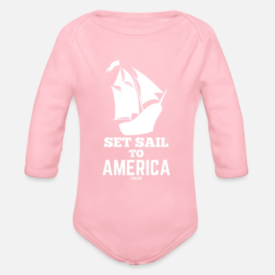 Gift  Babykleding - Christopher Columbus Day matroos USA - Rompertje met lange mouwen light roze