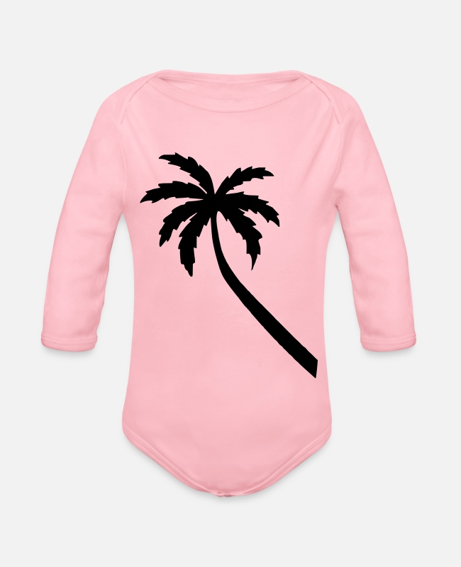 Palm Trees Baby Bodysuits - palm - Organic Long-Sleeved Baby Bodysuit light pink