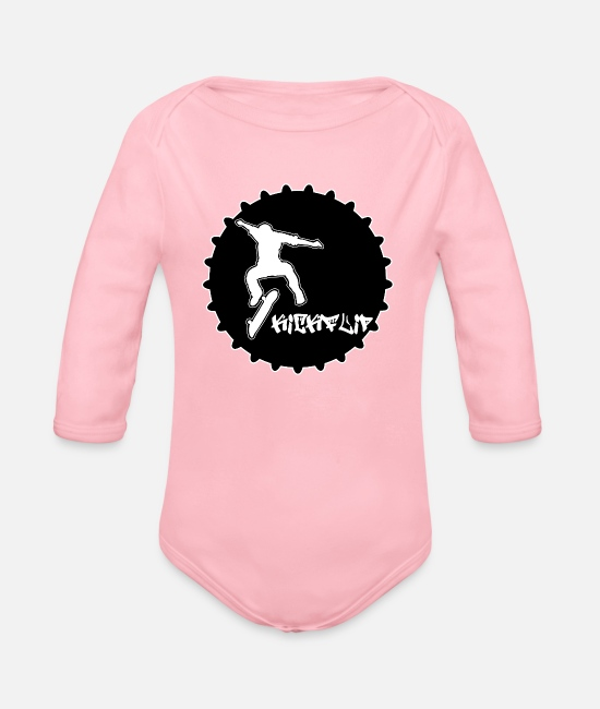 Boarders Baby Clothes - Skateboarder, kickflip on a skateboard - Organic Long-Sleeved Baby Bodysuit light pink